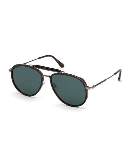 TOM FORD Men's Tripp Havana Aviator Sunglasses