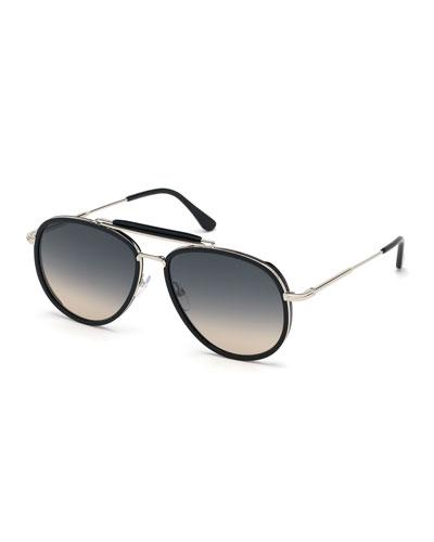Men's Tripp Havana Aviator Sunglasses, Black/Gray