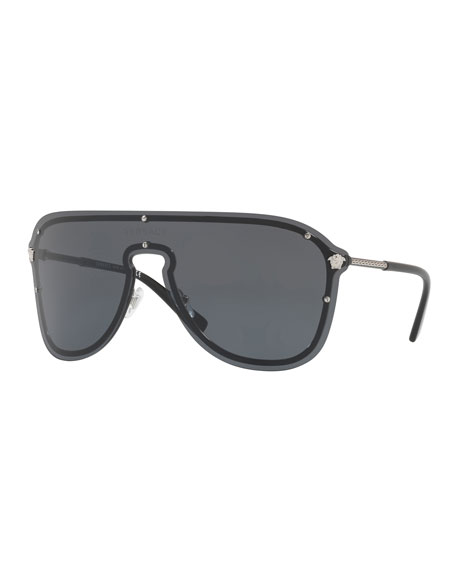Versace Men's Greek Key Shield Sunglasses