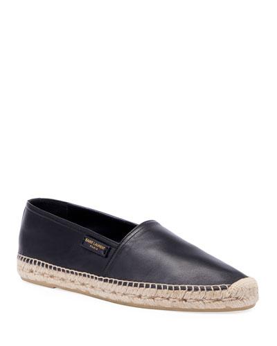 Men's Leather Slip-On Espadrilles