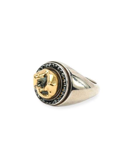 Men's Silvertone & Brass Tooth Ring