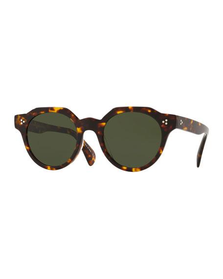 Oliver Peoples Sunglasses MEN'S IRVEN FACETED ROUND ACETATE SUNGLASSES - DM2