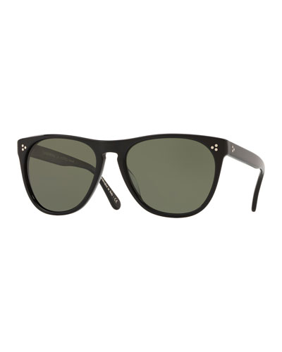 Men's Daddy B Square Acetate Polarized Sunglasses - Black