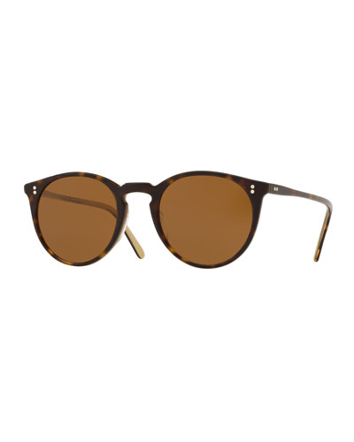 Men's O'Malley Peaked Round Sunglasses with Mineral Glass Lenses - Horn Brown