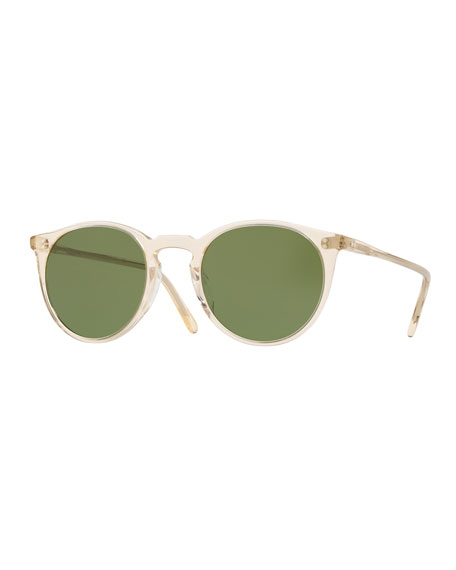 00b5669ee2 Oliver Peoples Men S O Malley Peaked Round Sunglasses With Mineral Glass  Lenses - Buff Green In Green Brown