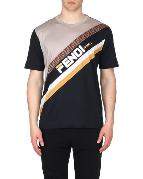 6a2cab9e74bc Fendi Men's Fendi Mania Stripe Oversized Pattern T-Shirt