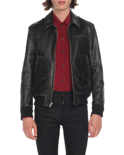 Men's Distressed Leather Bomber Jacket