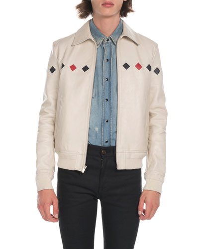 Men's Teddy Diamond-Detail Leather Jacket