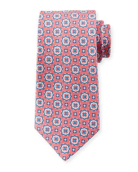 Kiton Men's Circle Medallions Tie, Pink