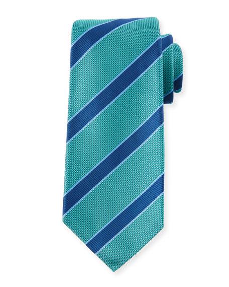 Men'S Textured Framed Stripe Tie in Green