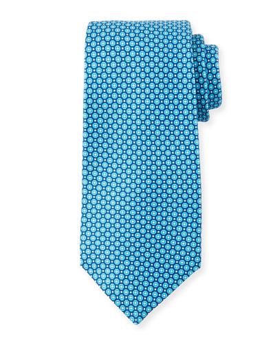 Men's Aqua Micro Circles Silk Tie