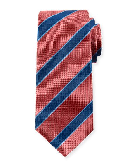 Men'S Textured Framed Stripe Tie in Pink