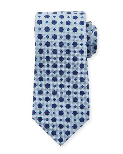 Men's Micro Flower Tie  White