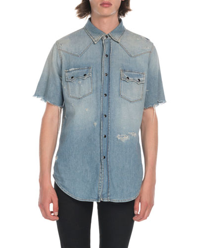 Men's Distressed Denim Shirt