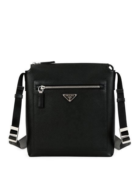 Men's Saffiano Leather Travel Crossbody Bag