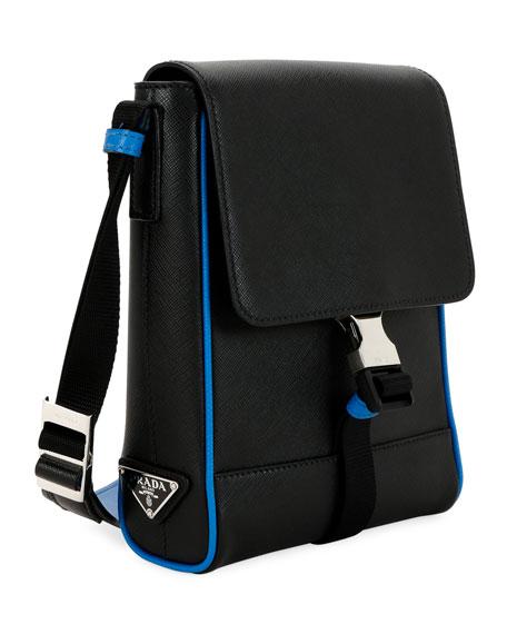 Men's Saffiano Leather Travel Messenger Bag
