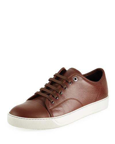 Men's Grainy Leather Low-Top Sneakers