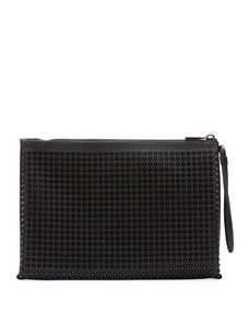 d5b717b87366 Christian Louboutin Men s Empire Spiked Leather Pouch Bag