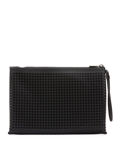 Men's Empire Spiked Leather Pouch Bag