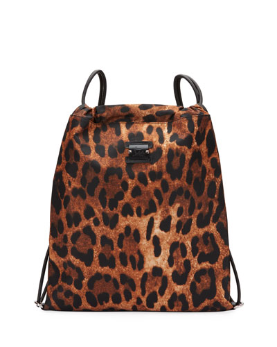 Men's Leopard-Print Nylon Drawstring Backpack with Leather Trim
