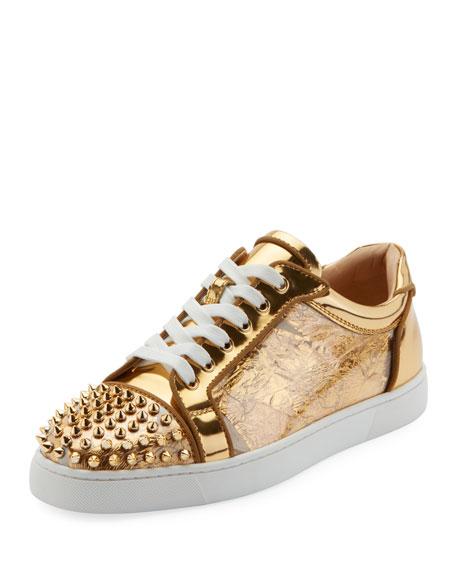 Christian Louboutin Men's Seavaste Spike Low-Top Sneakers
