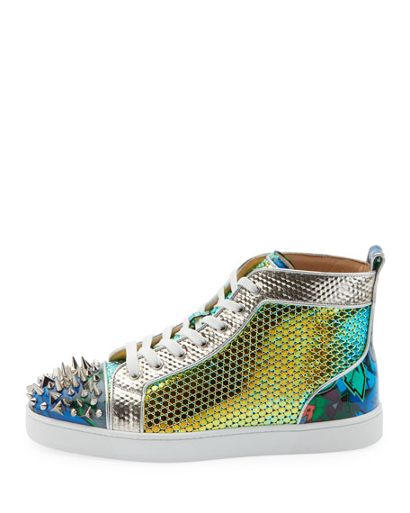 the best attitude 77cbb e06b4 Men's Spiked Metallic Holographic Mid-Top Sneakers