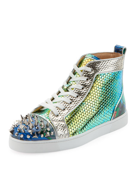 178a2bb6ef1 Christian Louboutin Men s Spiked Metallic Holographic Mid-Top Sneakers