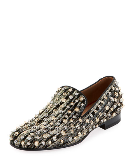 Christian Louboutin Men's Rollerboy Spiked Velvet Loafer