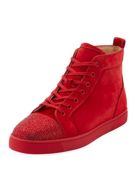 cheap for discount e4e3c b7998 Men's Louis Suede High-Top Sneakers with Crystal Embellishments