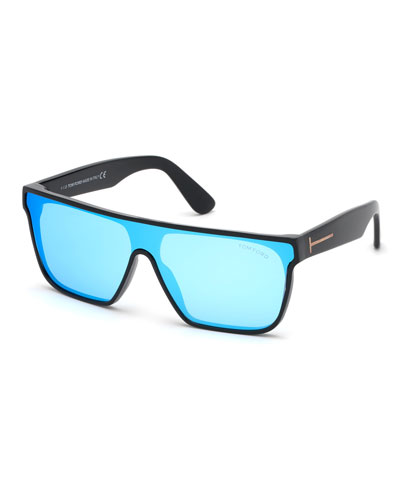 Men's Wyhat Square Shield Sunglasses, Light Blue