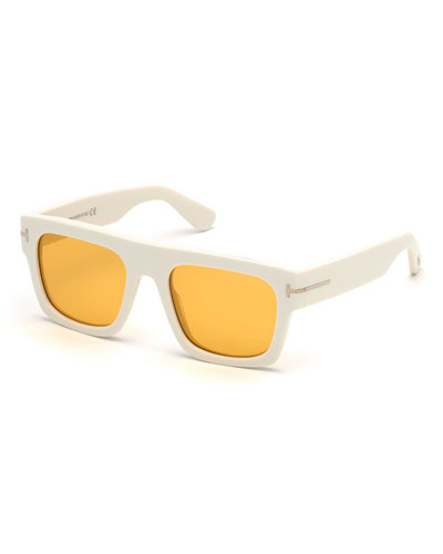 Men's Fausto Thick Plastic Sunglasses, White