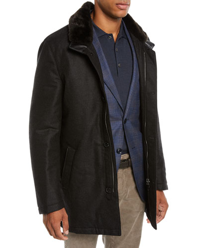 Men's Car Coat with Fur Collar