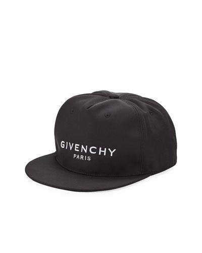 Men's Logo Flat-Bill Hat, Black