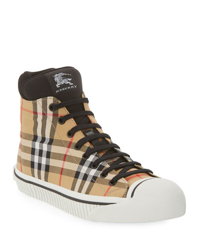 Men's Kilbourne Signature Check High-Top Sneakers