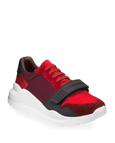 Men's Regis Neoprene Low Top Sneakers W/ Exaggerated Sole, Dark Red by Burberry