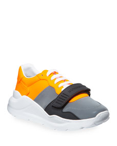 Men's Regis Neoprene Low Top Sneakers With Exaggerated Sole, Gray/Orange by Burberry