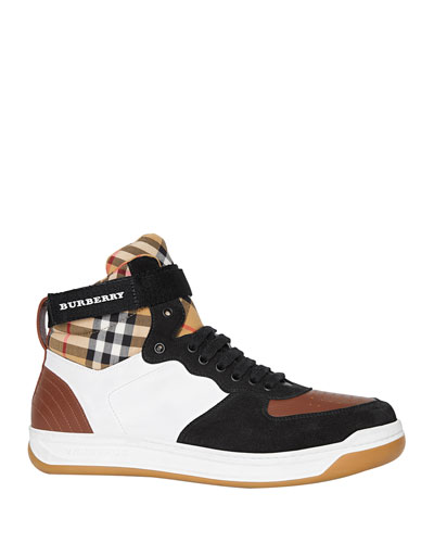 Men's Dennis Vintage Check High-Top Leather Sneakers