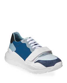Men's Regis Neoprene Low Top Sneakers W/ Exaggerated Sole, Blue by Burberry