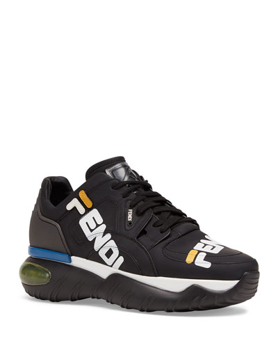Men's Fendi Mania Logo-Print Leather Dad Sneakers