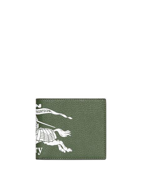 Burberry Wallets Men's Graphic-Print Leather Bi-Fold Wallet, BLUE