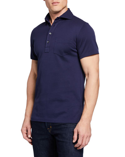 Men's Pique Pocket Polo Shirt  Navy