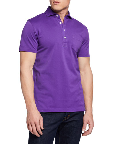 Men's Pique Pocket Polo Shirt  Violet