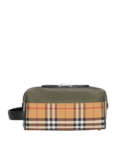 Men's Vintage Check Toiletry Travel Case, Green