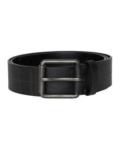 Men's Fife Embossed-Check Leather Belt