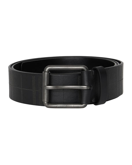 Burberry Men's Fife Embossed-Check Leather Belt