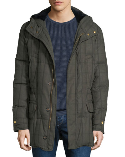 Men's Check Puffer Sport Jacket with Fur Lining