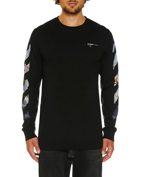 b4aa653c5 Off-White Men s Colored Diagonal-Arrow Long-Sleeve T-Shirt