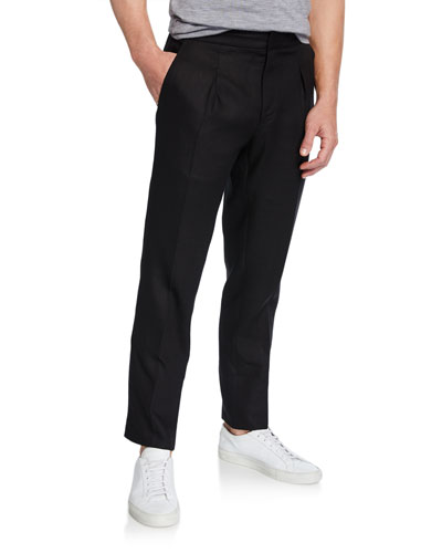 Men's RLX Relaxed Drawstring Linen Trousers  Black