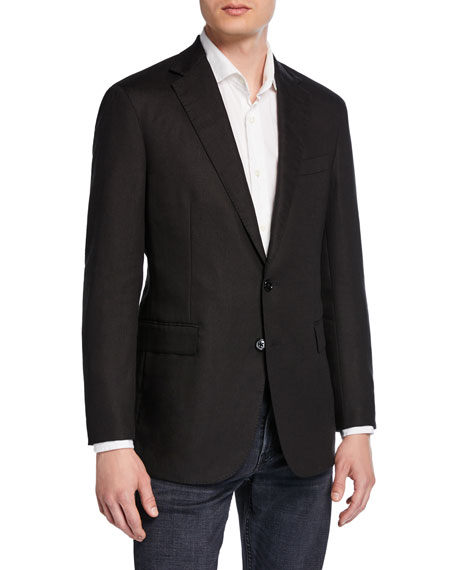 Ralph Lauren Men's Hadley 2-Button Linen Jacket, Black