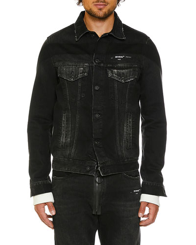 Men's Slim-Fit Denim Jacket with Fleece